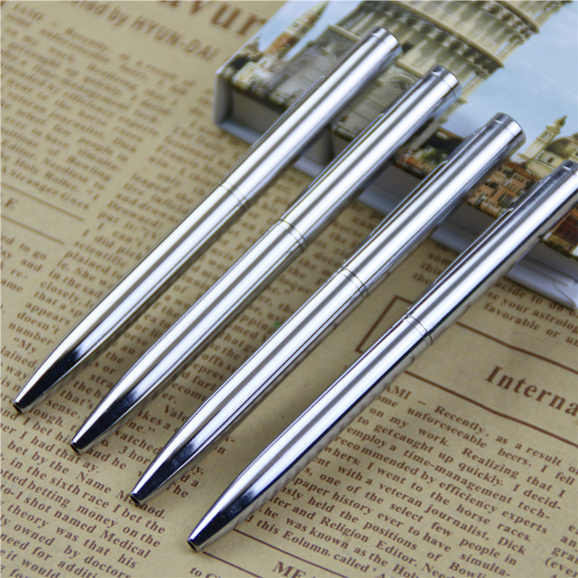 1Pcs Mini Metal Durable Ballpoint Pen Rotating Pocket-size Pen Portable BallPoint Pen Small Oil Pen Exquisite Writing Tool