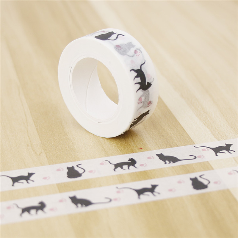 Cute Little Black Cat Washi Tape DIY Decoration Scrapbooking Planner Scrapbooking Stickers Size 15 Mm*10m