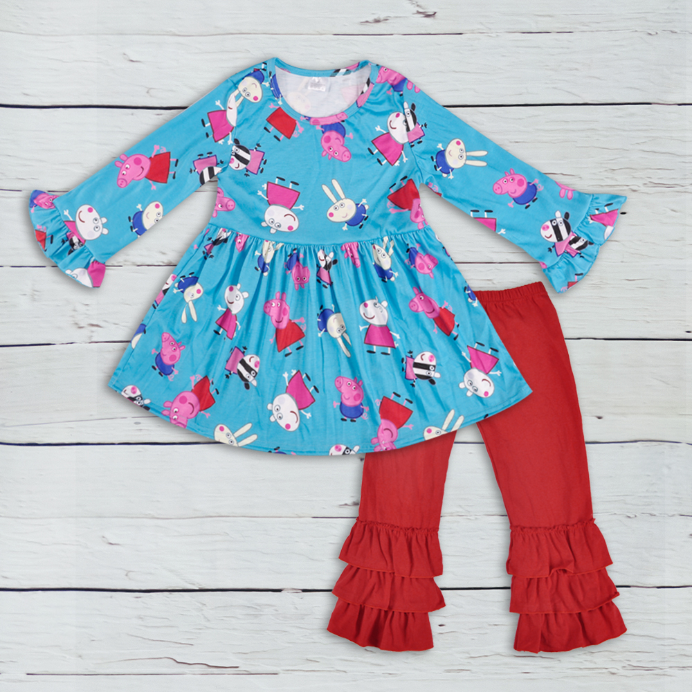2018 Persnickety Remake Boutique Girls Clothing Fall Cartoon Long Sleeve Top Red Ruffle Pants Baby Outfit Clothes 2GK806-390