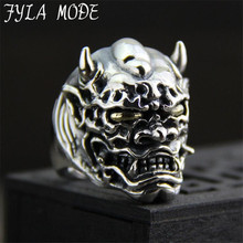 100% S925 Vintage Sterling Silver Skull Ring Men's Domineering Personality Exaggerated Prajna Silver Ring 29.90MM 30.10G