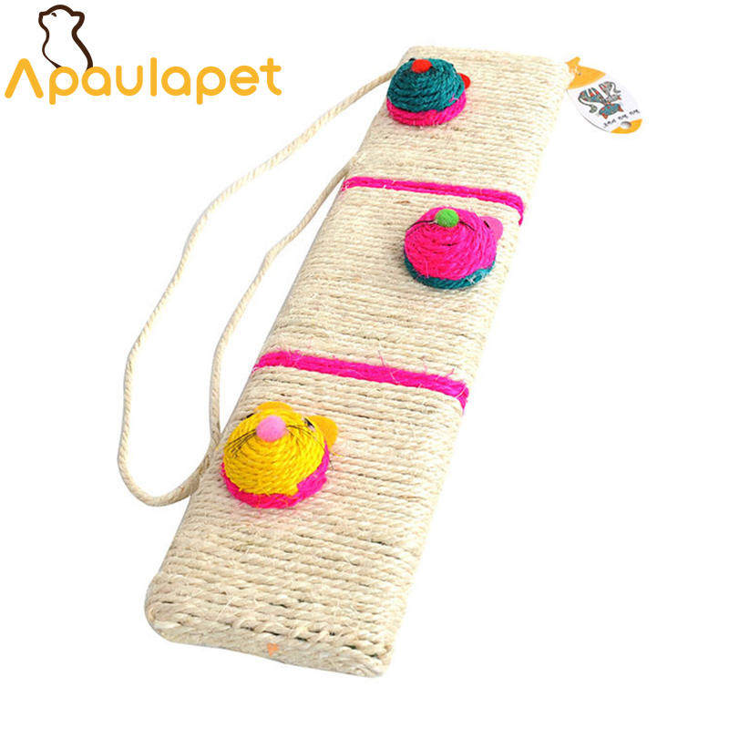 APAUALPET Safety Sisal Cat Toys Interactive Take Care Paws Cat Scratch Board With 3 Sisal Mouse