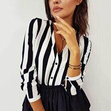 Verano mujer Sexy Camisa a rayas blanco y negro elegante cuello en V botón blusa OL tops casual sueltos Vintage Camisa femenina