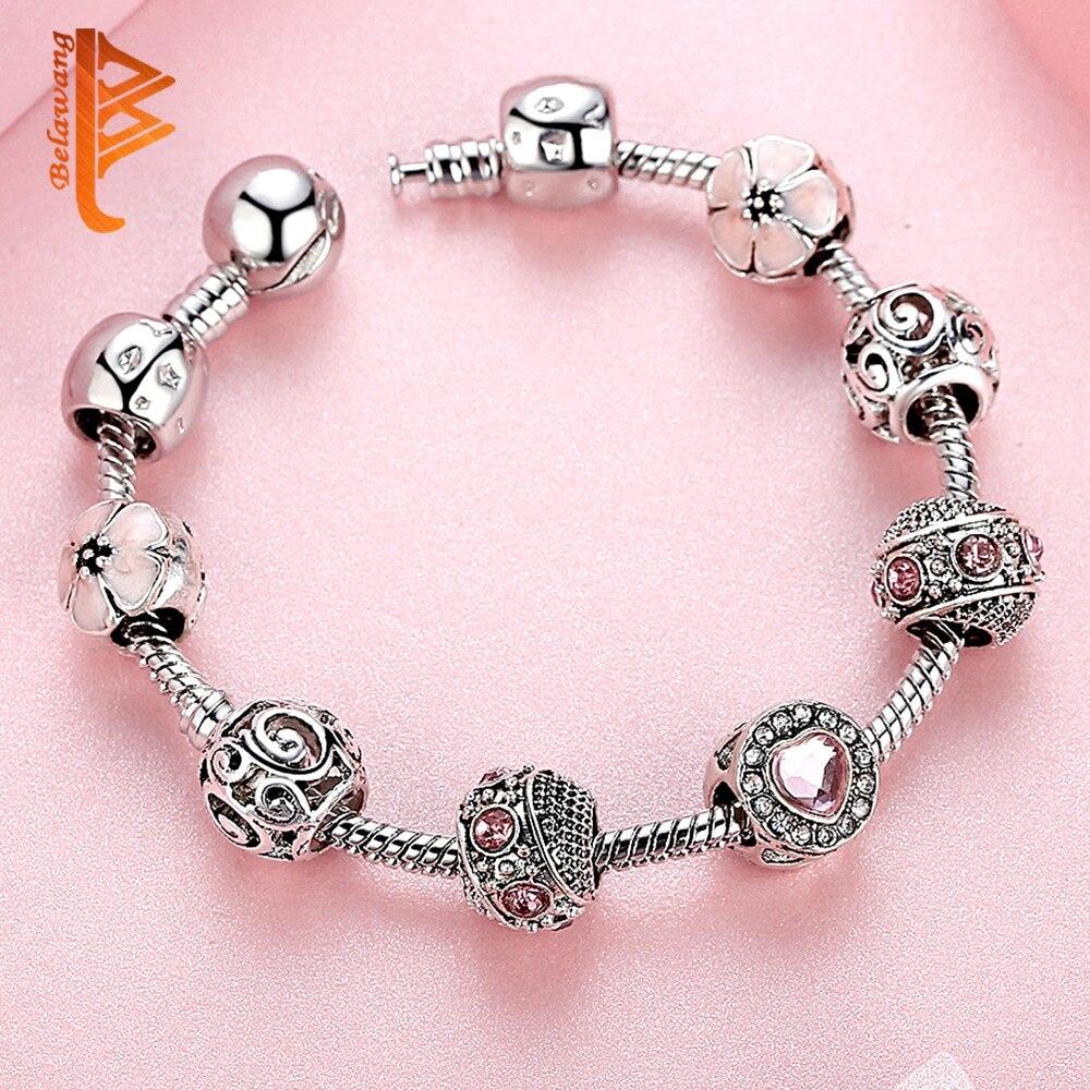 BELAWANG Luksuzni 925 srebrni šarm narukvice za žene s cvijetom i - Modni nakit - Foto 4