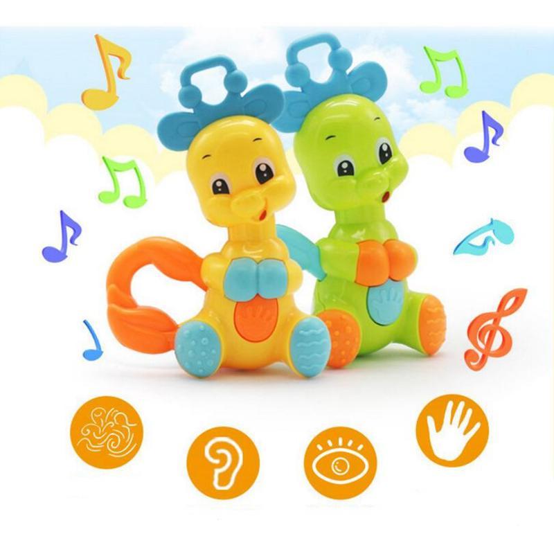 Симпатичные Красочные олень Игрушки для маленьких детей Пластик рука ребенка погремушка Mobiles Джингл встряхивания колокол Игрушки для маленьких детей Музыкальные Развивающие Игрушечные лошадки