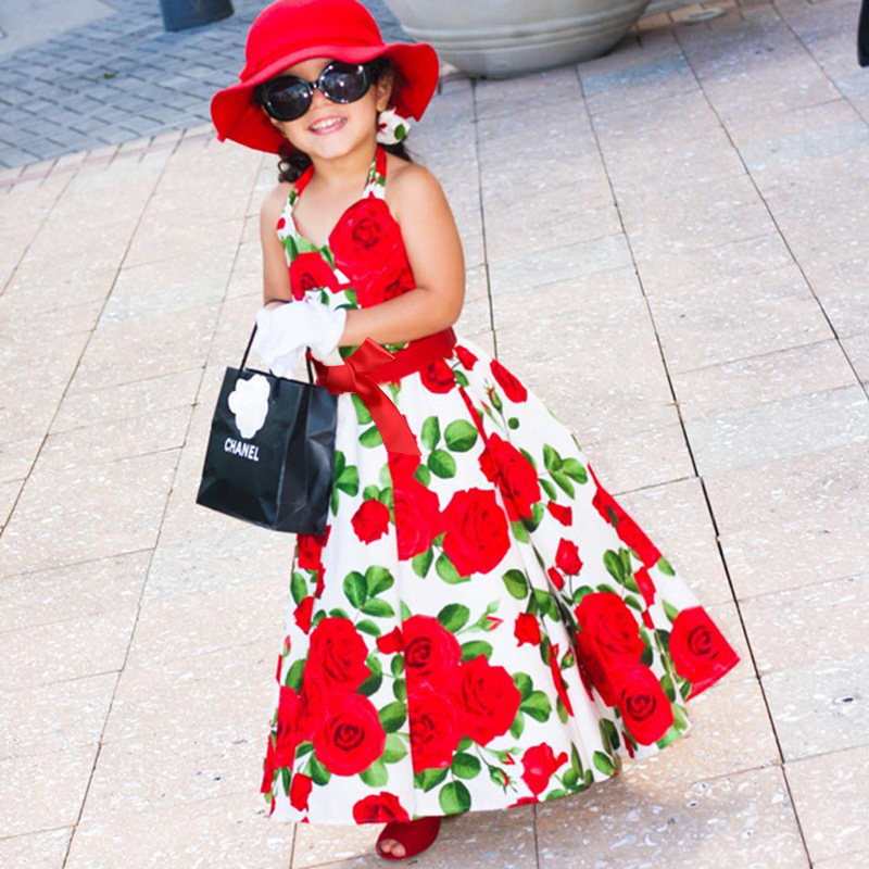 Hot Sale Summer Sling Baby Girl Beach Flower Dress Chiffon Bow Belt Party Princess Dresses 1-5years infant Childrens Costumes