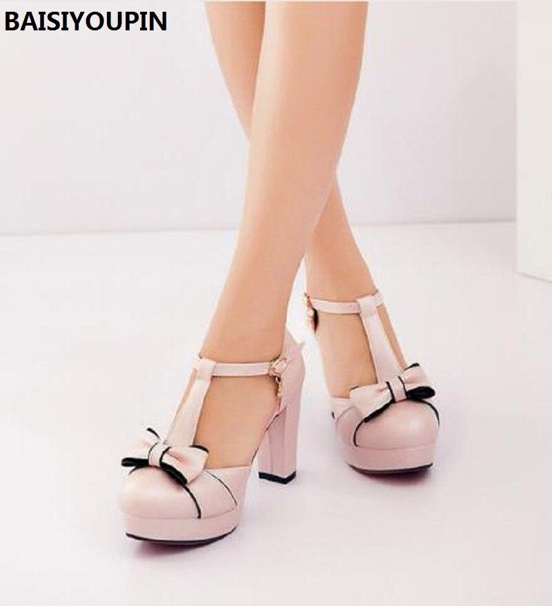 201 New Fashion Women's Shoes High Heels Thick Small Code 32 33 Shoes Baotou Sandal Bow Korean Women Shoes Pumps Plus Size 43