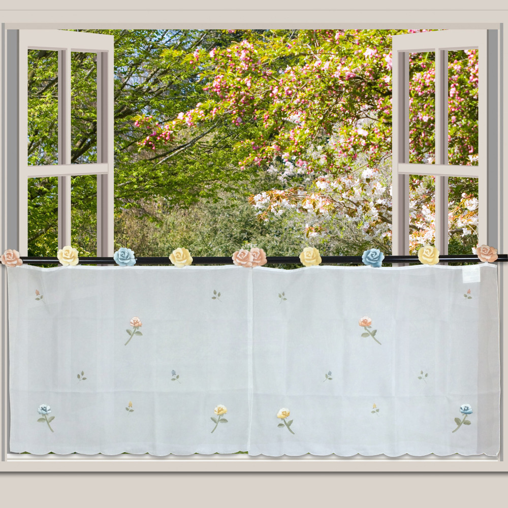 korean style beautiful flowers the sheer tulle lanyards curtain tier set curtains for kitchen living room - Tier Curtains
