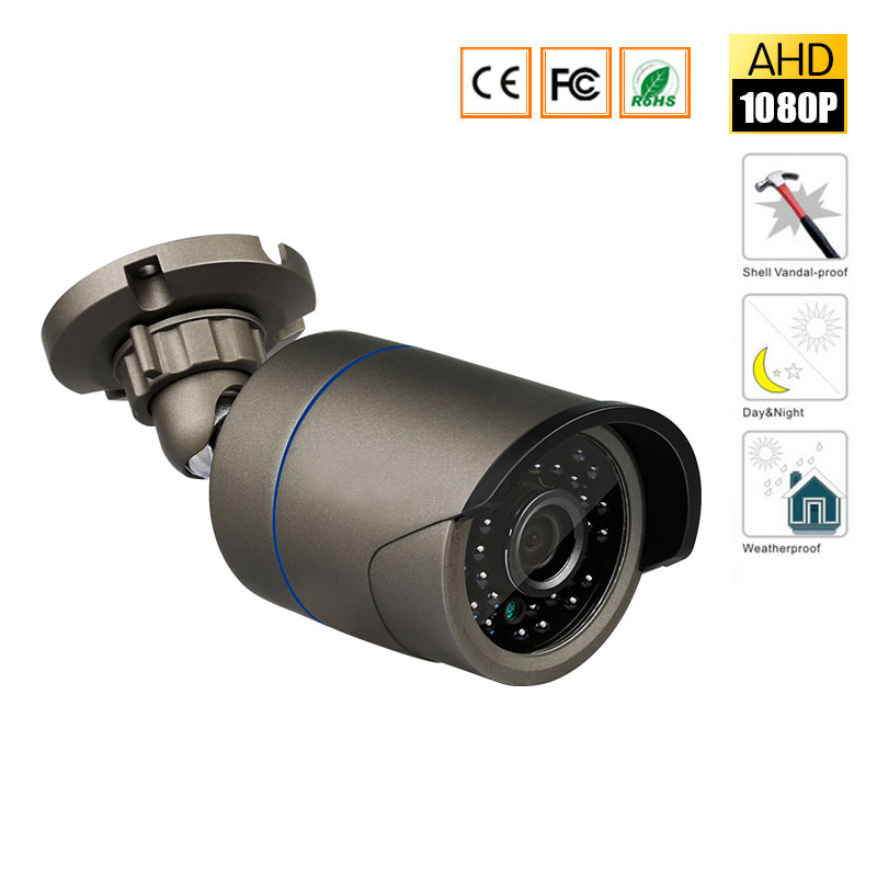 HD 1080P AHD 2.0MP Bullet Security Camera Outdoor with 24 IR Lamps Night Vision, 3.6mm Lens bullet camera tube camera headset holder with varied size in diameter