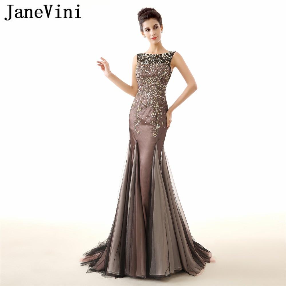 JaneVini 2018 luxe perles longues robes de demoiselle d'honneur sirène sans manches transparent longueur de plancher Illusion Tulle robes de bal formelles