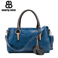 High Quality Luxury Women Handbag Alligator Famous Brand Embossed Pattern PU Leather Shoulder Bags Large Boston Hand Bag Blue