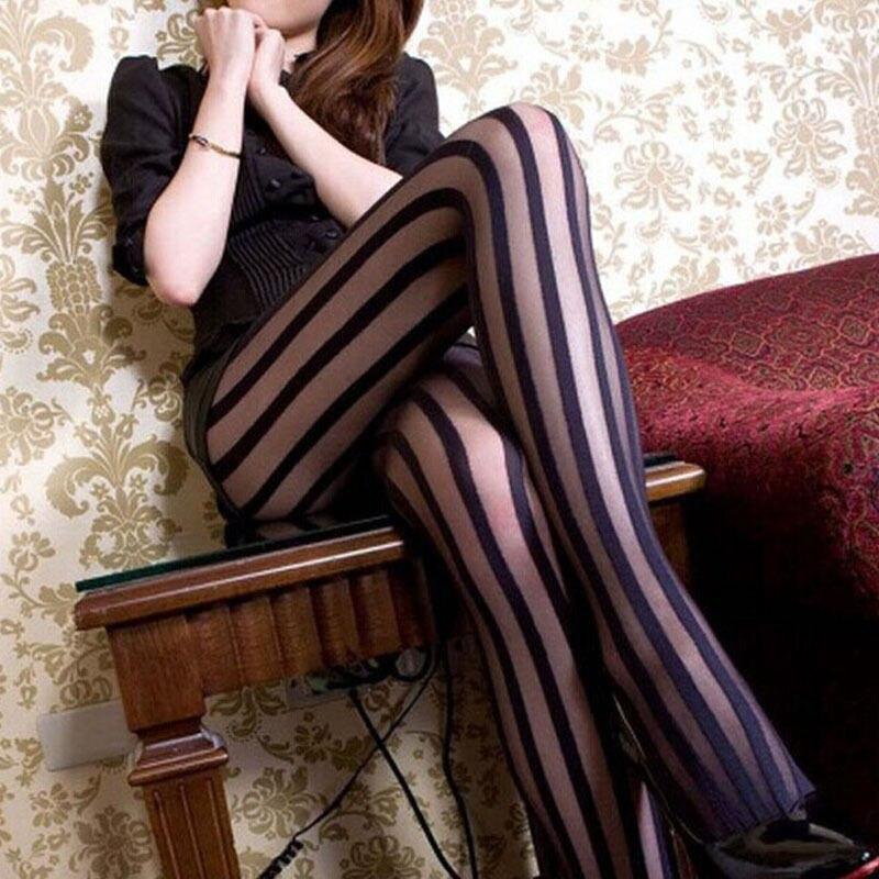 Sexy Black Vertical Striped Tights Gothic Punk Stripe Women Temptation Sheer Mock Suspender Pantyhose Stockings