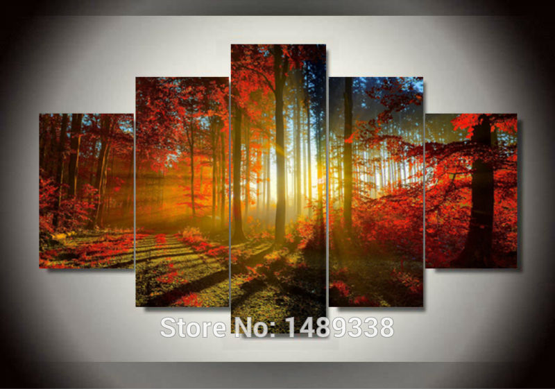 Forest And Sunset Sunlight Autumn Red Woods 5 Panel Canvas