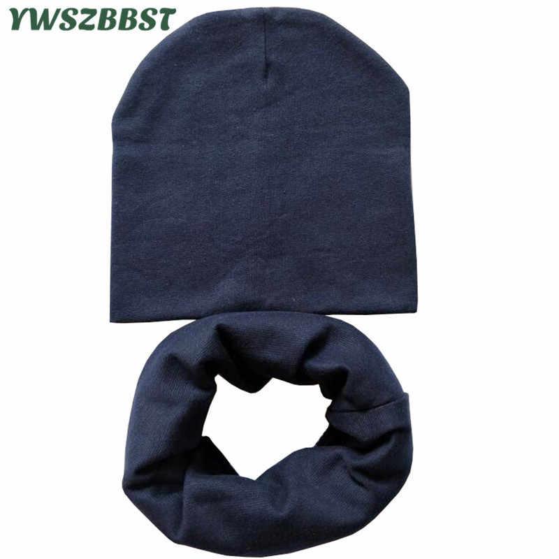 4 ถึง 12 ปีผ้าฝ้ายเด็กหมวกผ้าพันคอชุดฤดูใบไม้ร่วงฤดูหนาวชายหญิง Beanies หมวก