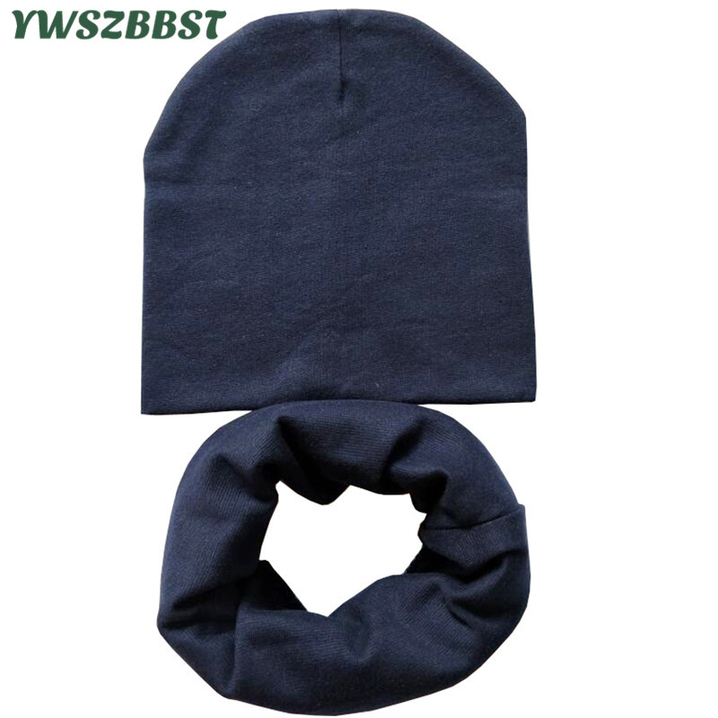 For 4 to 12 years old Solid Color Cotton Children Hat Scarf Set Autumn Winter Boys Girls   Beanies   Cap