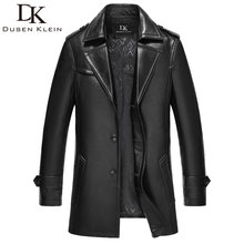 Dusen Klein Brand Genuine leather men jacket Sheepskin Mid-long/slim Designer spring leather coats black 15N626