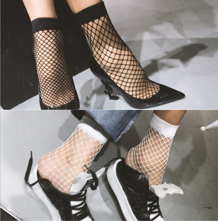 Casual Fishnet Socks Streetwear Breathable Women White Sexy Hollow Nets Ladies Sweet Mesh Lace Socks Ankle-High 1PCS Fashion