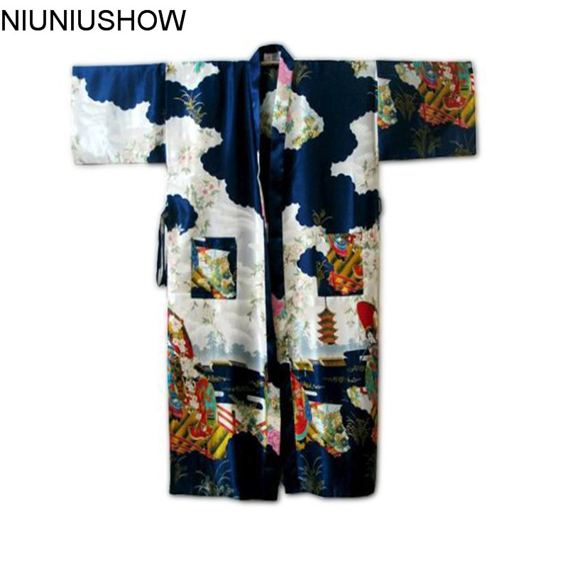 Navy Blue Chinese Womens Silk Rayon Robe Kimono Bath Gown Nightgown Size S M L XL XXL XXXL Free Shipping W4S003