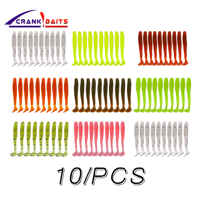 Cheap 10Pcs / lot 45mm Wobbler Jigging Easy Shiner Soft Fishing Lure Silicone Bait Fishing Carp Tackle soft Lures for Fishing YB320