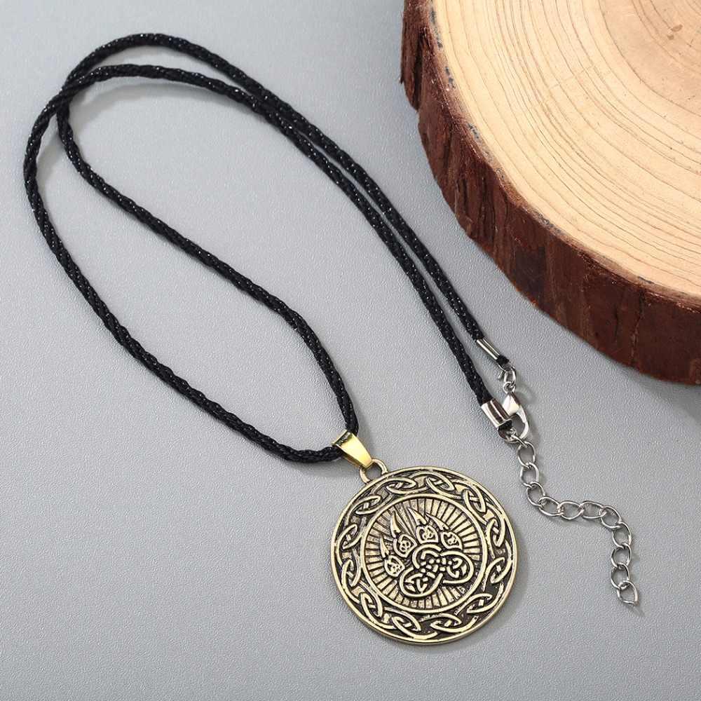 CHENGXUN Dell'annata Infinite Nodo Pendente Uomini Nordic Stampa Orso Amuleto Gioielli Collana Maschile Vichingo Slavo Simbolo Talisman