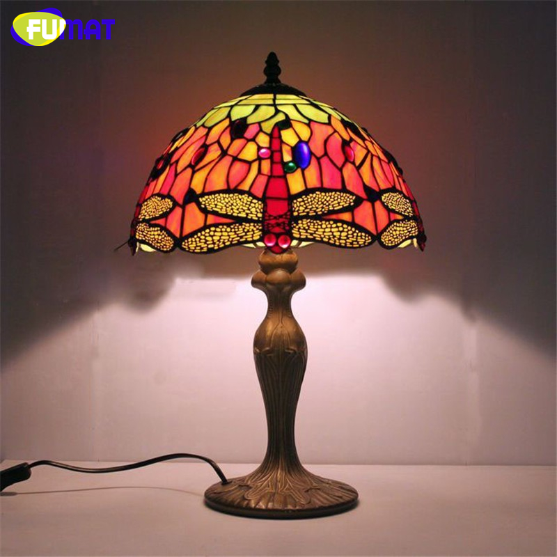 Fumat Stained Glass Table Lamps Round Colored Table Lamp Bedside Led