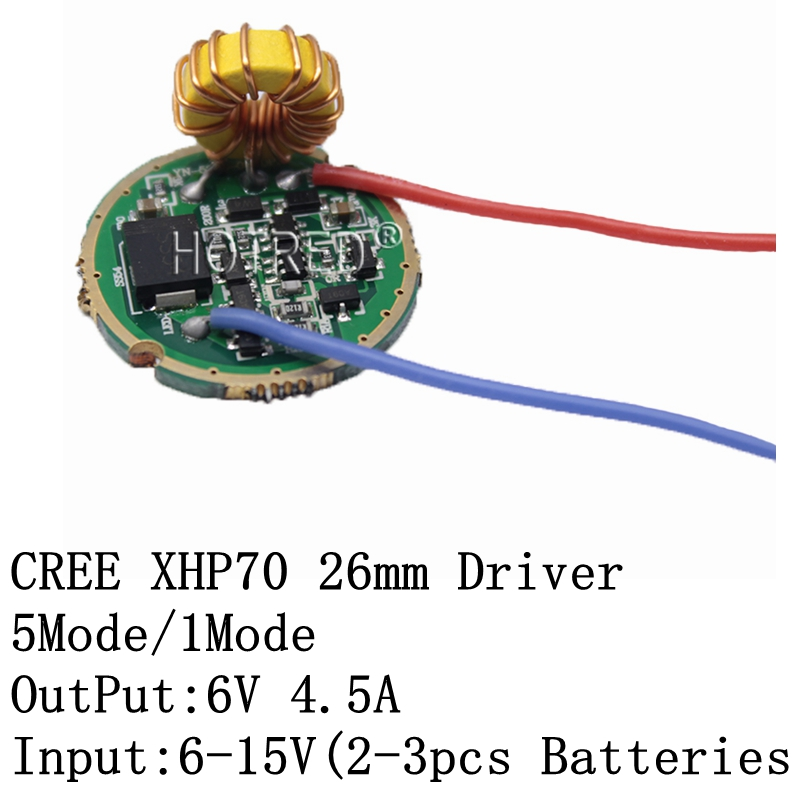 Cree XLamp XHP70 XHP70.2 <font><b>6V</b></font> <font><b>LED</b></font> <font><b>Driver</b></font> 26MM Input DC6V-15V Output <font><b>6V</b></font> 4500mA For XHP70 XHP70.2 <font><b>LED</b></font> FlashLight Lamp Bulb image