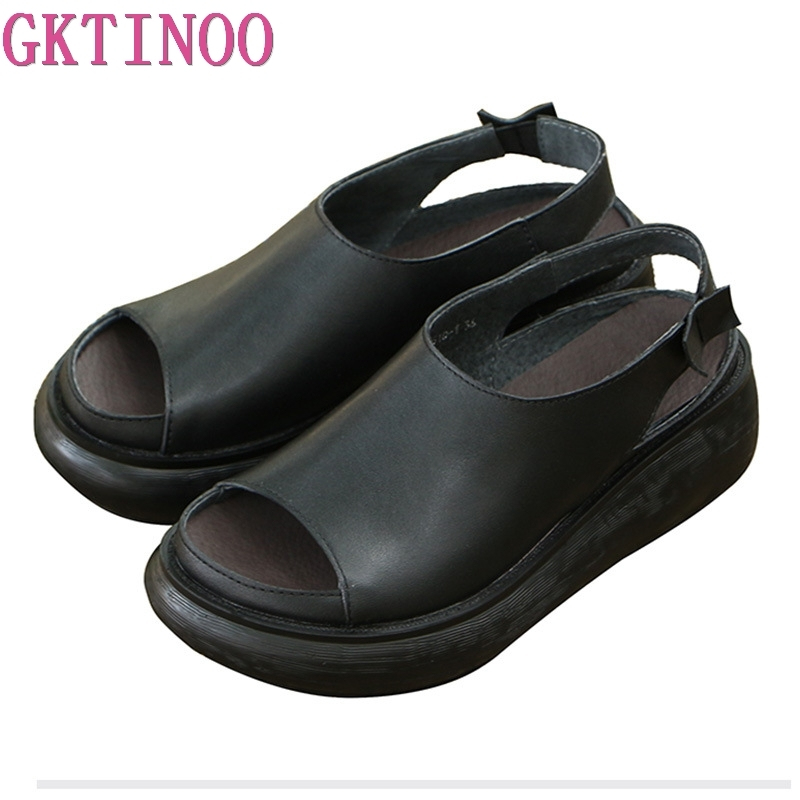 GKTINOO Genuine Leather Women Sandals 2019 Retro Black Summer Shoes 6CM Wedges Heels Sandals Soft Leather