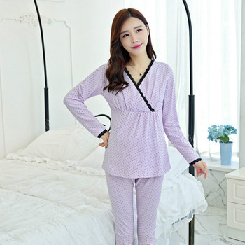 Maternity sleepwear breast Feeding Spring Fall Pregnant Suit Pregnant women feeding suits Postpartum clothes maternity pajamas