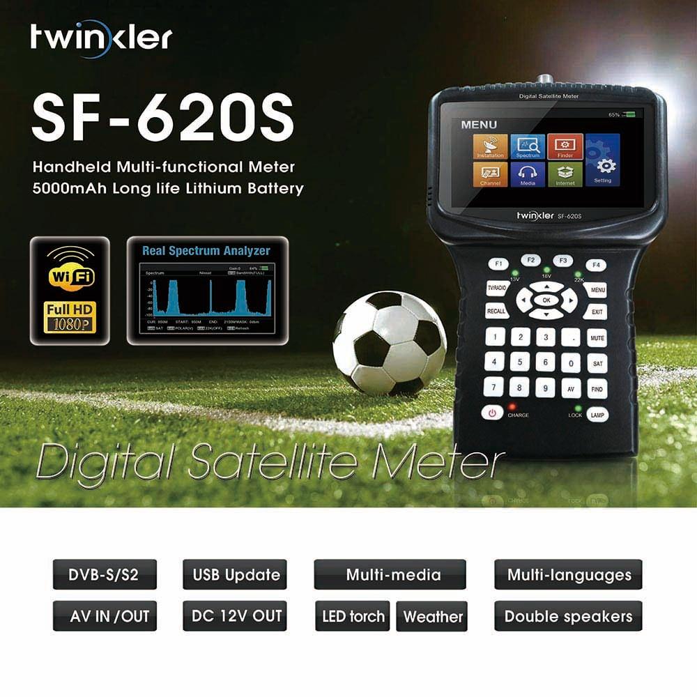 Twinkler SF-620S Satfinder with 4 3 inch LCD support Spectrum Analyzer CS PowerVu Biss WiFi CCTV Camera Digital Satellite Finder