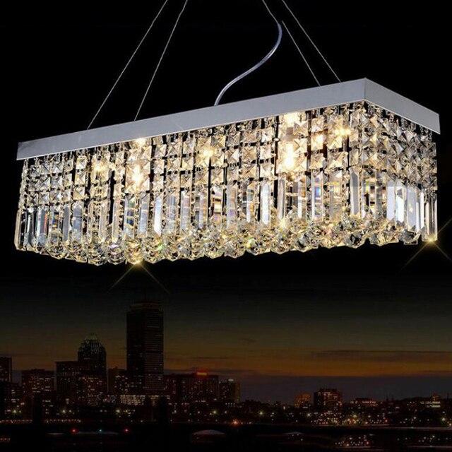ثريا جديدة حديثة من الكريستال لغرفة الطعام ثريا مستطيلة للسقف تُشحن مجانًا