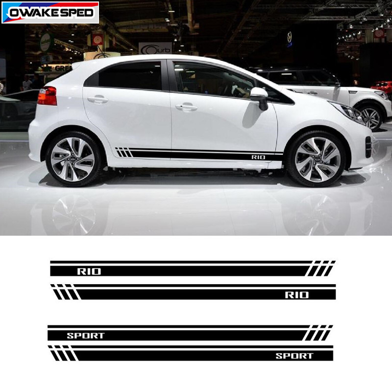 For KIA RIO Sport Stripes Decal Car Door Side Skirt Stickers Auto Body Accessories Waterproof Decals Fit On 3-5 Doors