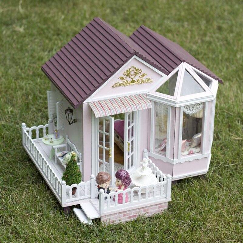 Diy 모형 인형 집 가구를 가진 소형 인형 집 아이들을위한 led 3d 나무로되는 집 장난감 handmade crafts a012 # e-에서인형 집부터 완구 & 취미 의  그룹 1