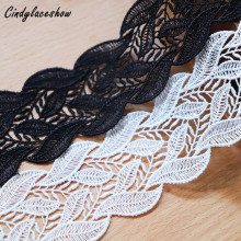 3 Yards 4cm Width White Black Embroidered Leaves Lace Trim Water Soluble for Curtain Sofa Edge Decoration Sewing Appliques