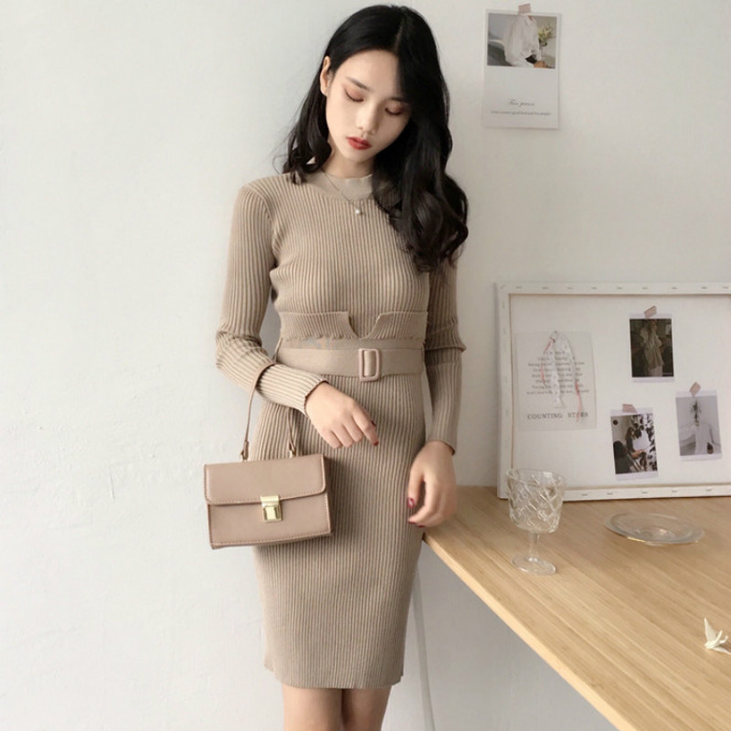 Women Winter Turtleneck Sweater Dress Fake Two Piece Bodycon Knitted Dress Female Autumn Black Red Sexy Casual Dresses Vestido women turtleneck front pocket sweater dress