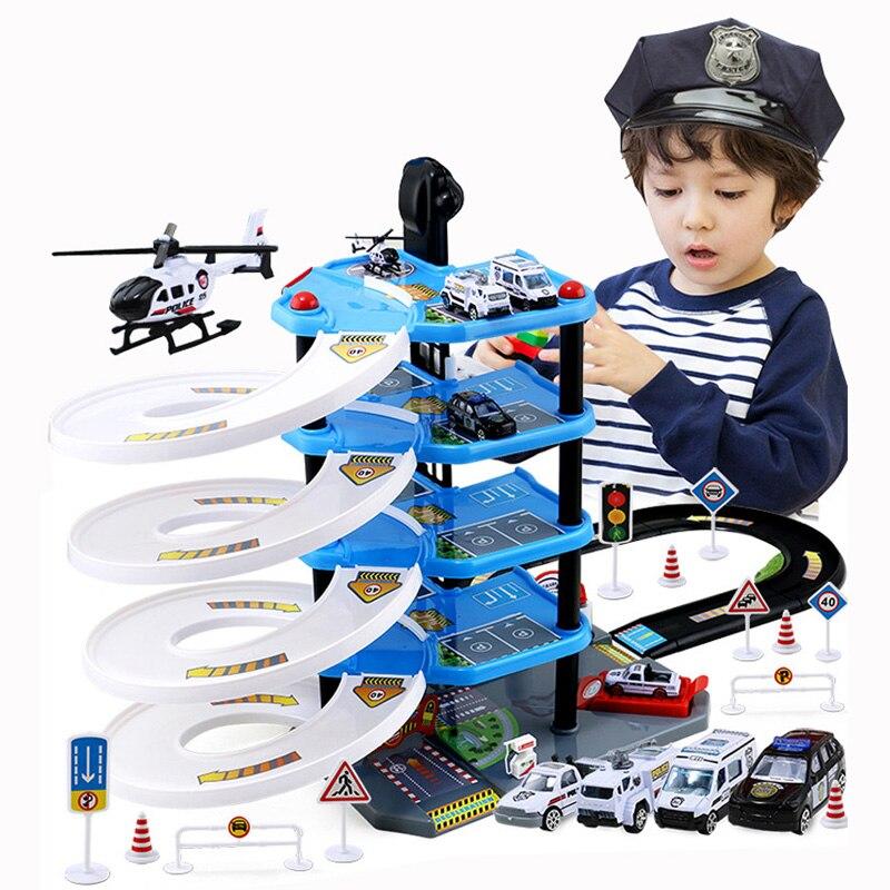 Nouveaux enfants de parking lot jouets multi-étages piste modèle de voiture garçon alliage voiture jouet ensemble cadeau