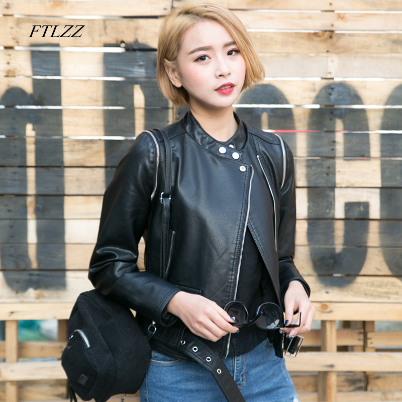 Ftlzz Black Faux   Leather   Jacket Women Spring Autumn New Vintage Short Slim Biker Jacket Fashion Female   Leather   Jacket