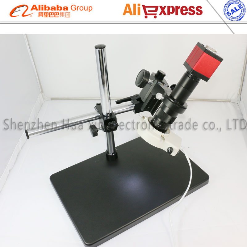 Newest 13MP HMID VGA outputs Industry Microscope Camera+Big Boom Stand Universal bracket+180X C-MOUNT Lens+56 LED Light  цены