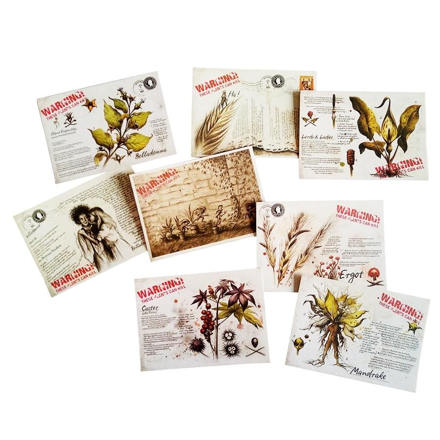 16 Pcs Lot Plant Postcard Retro Style Business Cards