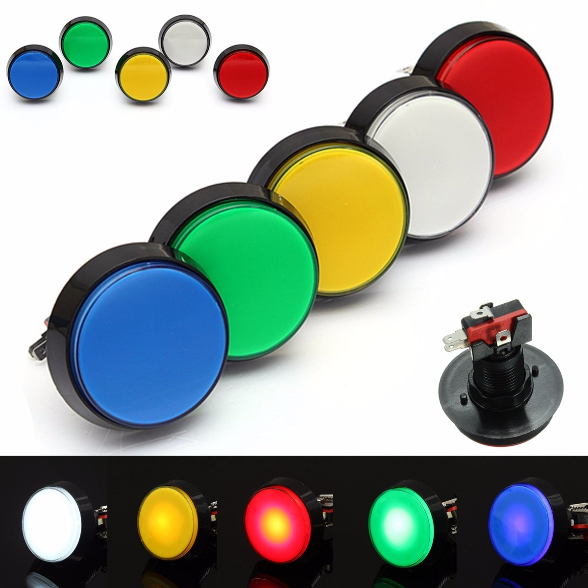 Arcade Button 5 Colors LED Light Lamp 60MM 45MM Big Round Arcade Video Game Player Push Button Switch(China)