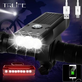 Trlife 5200mah bicicleta luz 3 * l2/t6 usb recarregável lâmpada ipx5 à prova dipágua led farol como banco de potência mtb bicicleta acessórios 1
