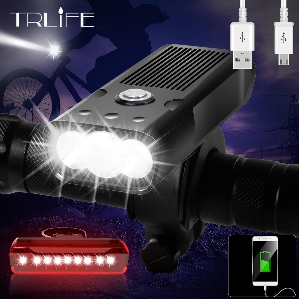 TRLIFE 5200mAh אופניים אור 3 * L2/T6 USB נטענת אופני מנורת IPX5 עמיד למים LED פנס ככוח בנק MTB אופני אביזרים