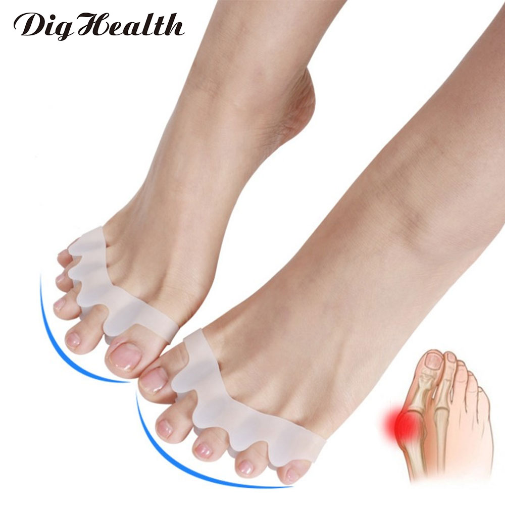 Dighealth 5 Holes Silicone Pedicure Foot Care Fixed Toe Separator Hallux Valgus Overlapping Toe Correction Legs Finger Protector