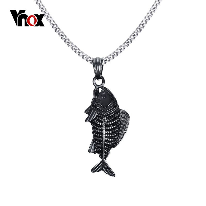 Vnox punk stainless steel necklace simple fish bones for Fish skeleton necklace