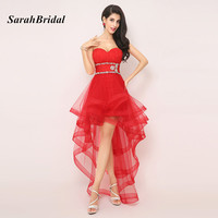 AJ014 Red Homecoming Dress For Prom Sweetheart Short Party Dresses High Low Crystal Short Homecoming Dresses