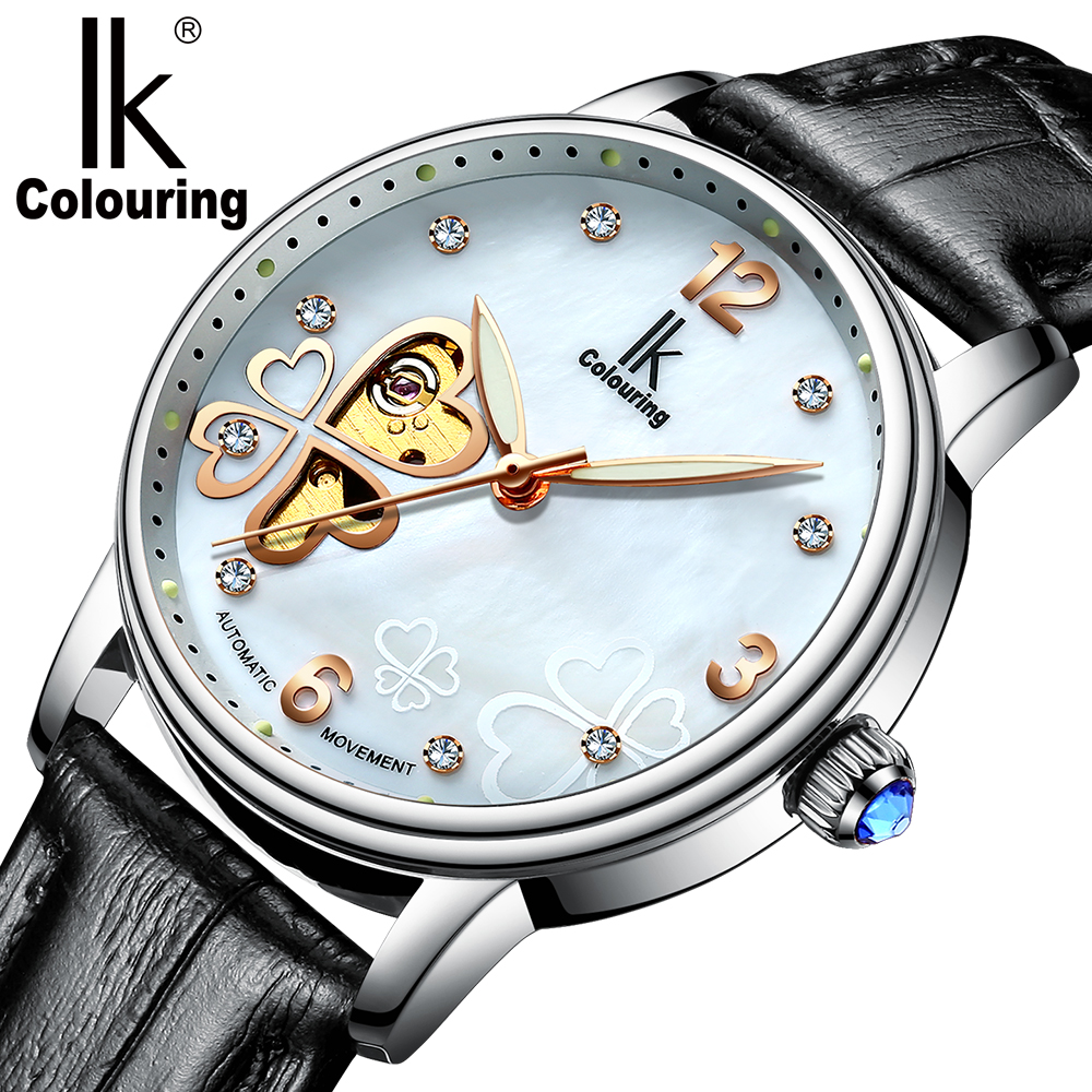 Luxury Watch 2017 Women s Four Leaf Clover Floral Crystal Skeleton Luminous Auto Mechanical Wristwatch with