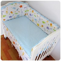 Promotion! 6PCS crib Bedding Sets Baby Bedding Sets baby cotton cartoon animal (bumper+sheet+pillow cover)