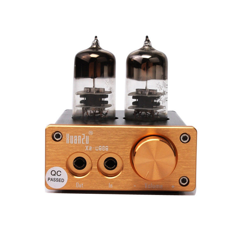 цена на New U808 Class A HIFI 6J9 Vacuum Tube Headphone Amplifier Portable Headphone Amp + power supply