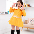 Kids new winter coat Korean children girls white lace woolen