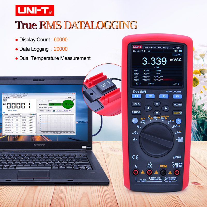 U NIT UT181A True RMS Datalogging Digital Multimeters DMM Capacitance Temperature Meter w Re Chargeable Li