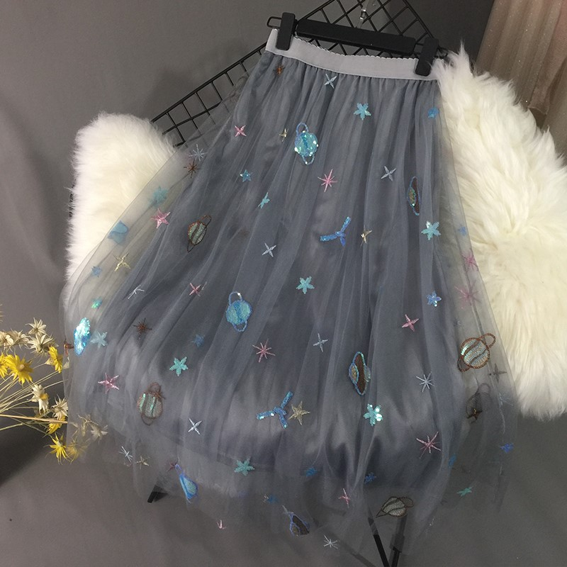 2018 Euramerican Galaxy Starry Sky Embroidery Paillette Gauzy Elegant Polyester Casual Ball Gown Ankle Length Expansion