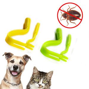 2PCS Dog Louse Flea Scratching Remover Hook Horse Cat Pet Flea Remover Tweezers Puppies Groom Tick Twister Remover Hook Tool(China)